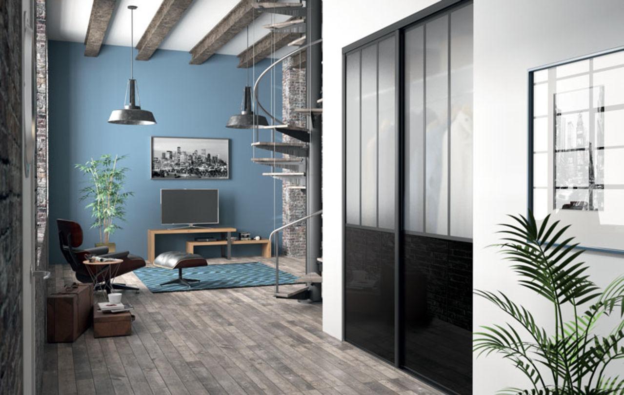 Deco Porte De Placard portes de placard coulissantes de style atelier | kazed