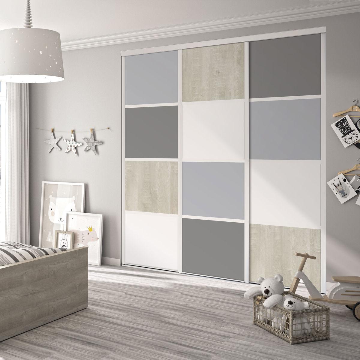 Patine Effet Bois Flotté camille 12 façade de placard coulissante 3 portes décor gris galet, décor  gris intense, décor bois flotté crème, décor blanc mat