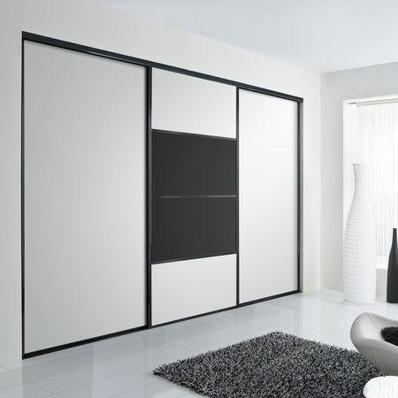 Facade De Placard Coulissante 3 Portes Verre Laque Blanc Pur Verre Laque Noir Kazed
