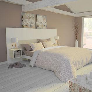 Mocca Tête de lit 3 Ensemble Tête de lit 140 cm + 2 chevets Blanc Mat et  Bois Flotté Crème