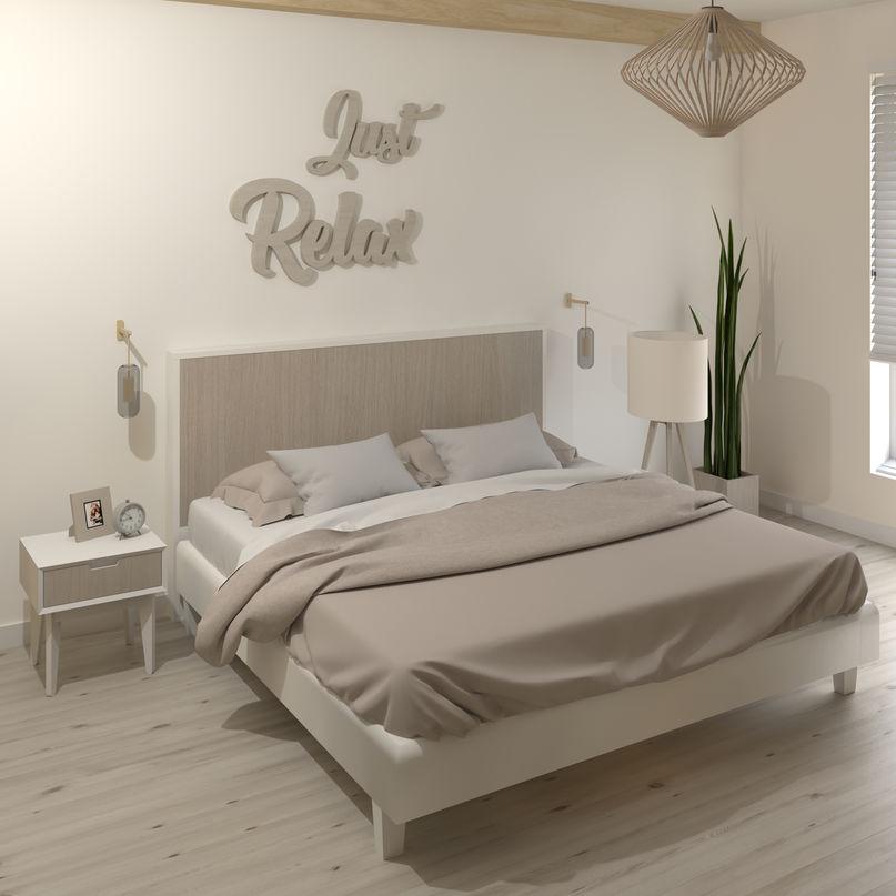 tête de lit de 140 cm blanc mat et bois patiné rose  kazed